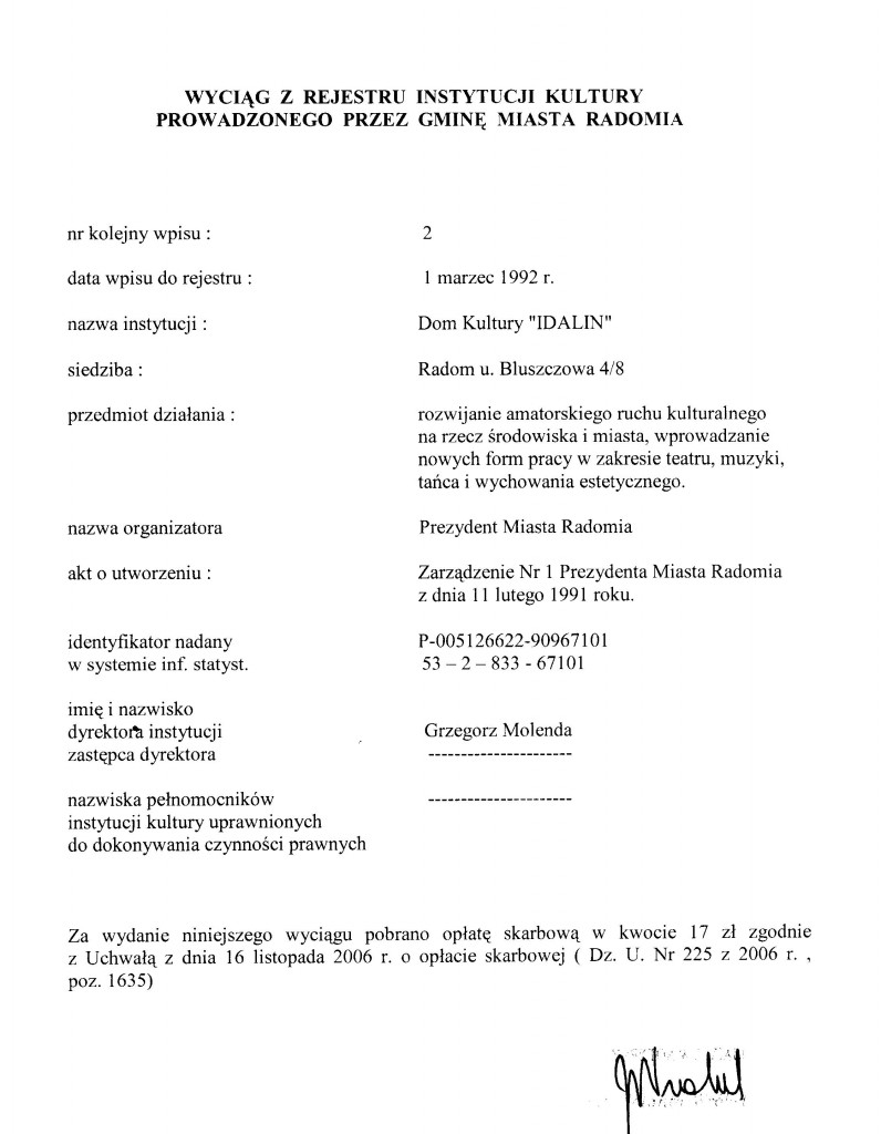 Rejestr instytucji kultury