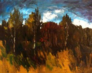 Jan+Drewicz+Pod+lasem,+40+x+50,+olej+na+płótnie